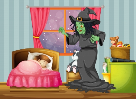 wee: Illustration of a witch looking at the girl sleeping inside the room Illustration