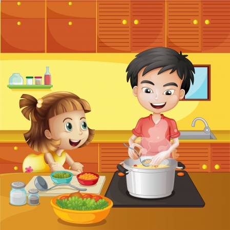 ingredients tap: Illustration of a young girl and boy at the kitchen