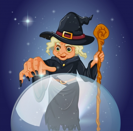 magic ball: Illustration of a witch with a cane in front of a magical ball