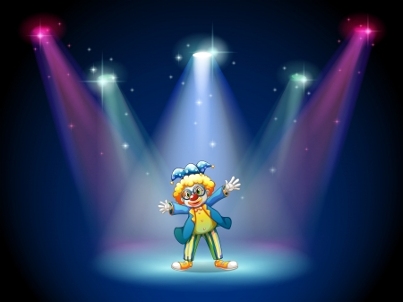 stageplay: Illustration of a man dressing up as a clown at the stage