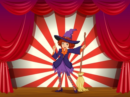 stageplay: Illustration of a stage with a witch and her flying broom Illustration