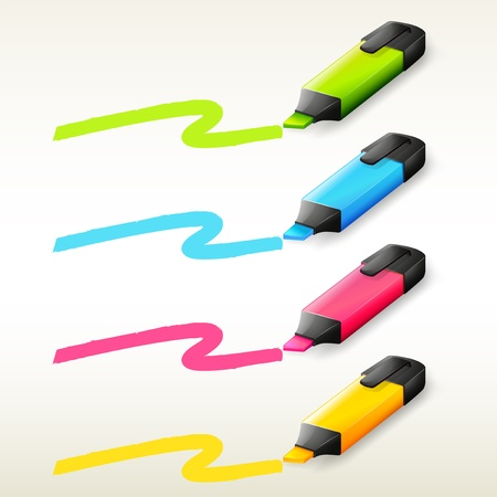 pen and marker: Illustration of the four markers in different colors on a white background