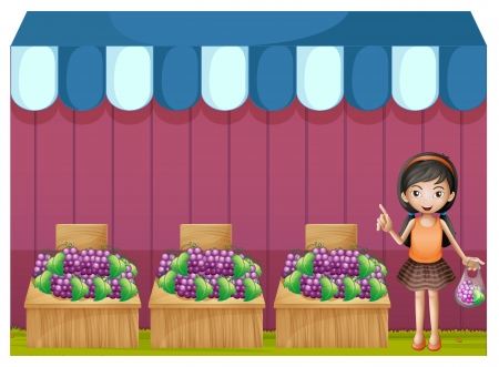 Illustration of a girl selling grapes on a white background Stock Vector - 19874701