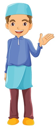 Illustration of a Muslim boy waving his left hand on a white background