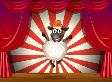 centerstage: Illustration of a stage with a sheep jumping at the center