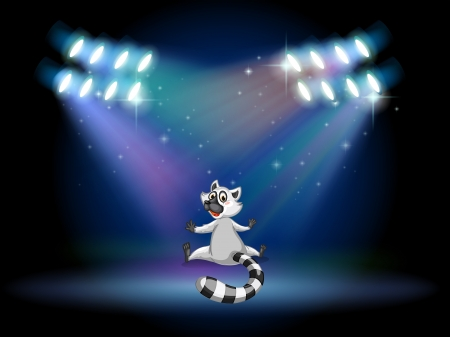 Illustration of a lemur in the middle of the stage Stock Vector - 19874402