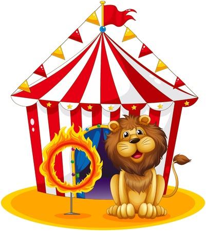 Иллюстрация льва у костра обруч в цирке на белом фоне Иллюстрация