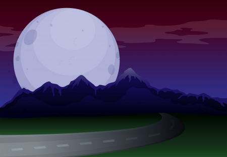 Illustration of a narrow road under a full moon Vector