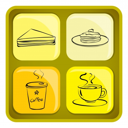melaware: Illustration of the four snack icons on a white background