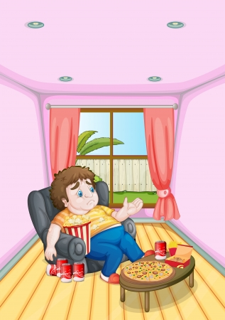 Illustration of a fat young man in front of a table full of foods Vector