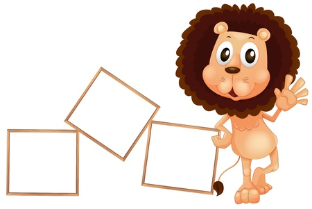 Illustration of a lion standing beside the empty boards on a white background