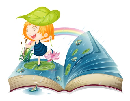 raining background: Illustration of a book with an image of a girl at the pond on a white background