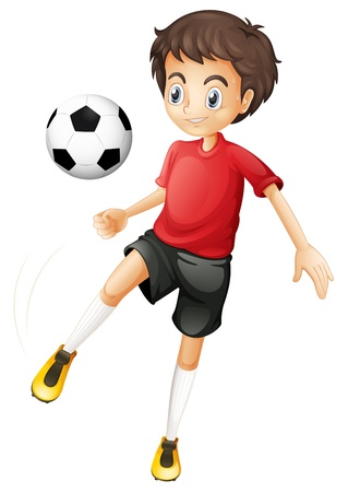 Illustration of a young man playing football on a white background