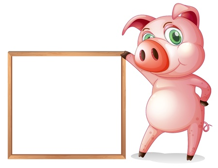 beside: Illustration of a female pig beside an empty wooden frame on a white background