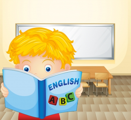 Illustration of a boy reading a book inside the classroom Vector