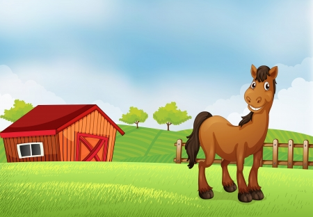 rootcrops: Illustration of a horse at the farm
