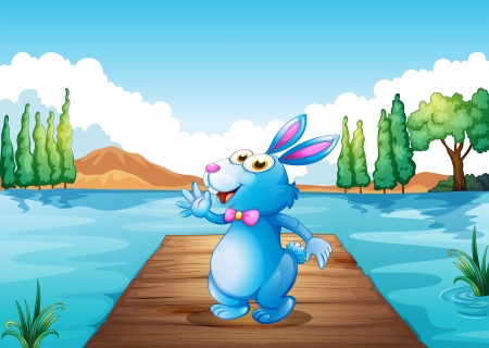 Illustration of a bunny above the wooden bridge at the river Vector