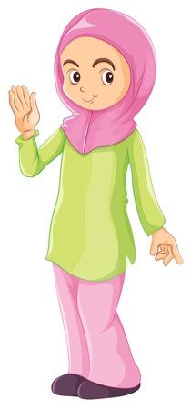 Illustratie van een vrouwelijke moslim op een witte achtergrond Vector Illustratie