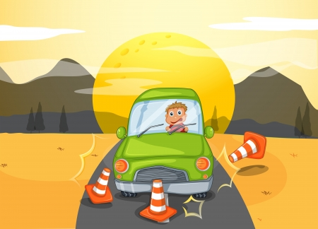 traffic accident: Illustration of a green car bumping the traffic cones