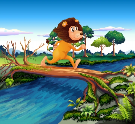 Illustration of a lion running while crossing the river Stock Vector - 19874705