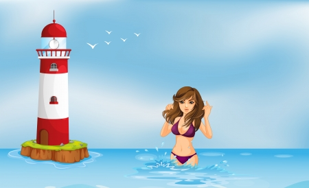 Illustration of a girl wearing a bikini at the beach beside a tower Vector