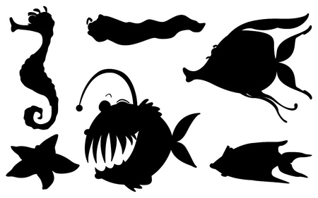 seafoods: Illustration of the sea creatures in its silhouette forms on a white background