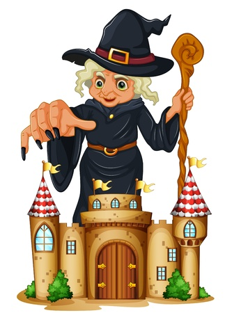 flaglets: Illustration of a giant witch at the back of a castle on a white background  Illustration