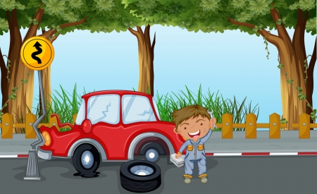 Illustration of a boy with tools and a red car at the road Illustration