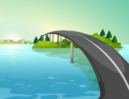 the long lake: Illustration of a long road above the river