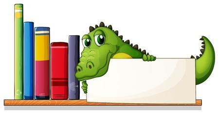 �tag�re bois: Illustration d'un crocodile tenant un plateau vide au-dessus de l'�tag�re en bois avec des livres sur un fond blanc