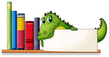 storyteller: Illustration of a crocodile holding an empty board above the wooden shelf with books on a white background  Illustration