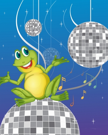 Illustration of a frog sitting on a disco light Stock Vector - 19873574