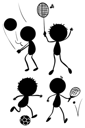 Illustration of the different sport activities in its silhouette forms on a white background Vector