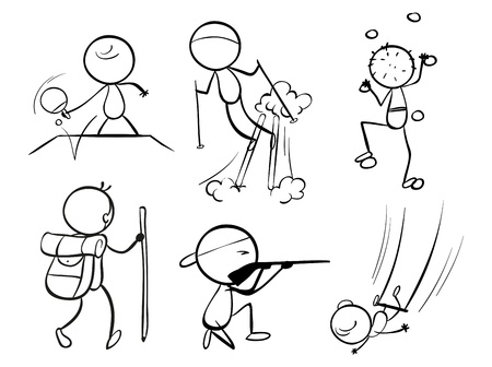 Illustration of the doodle designs of sporty people on a white background Vector