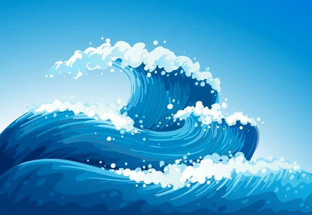 ocean view: Illustration of a sea with giant waves