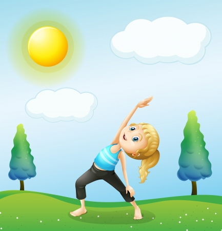 Illustration of a girl exercising above the hills Stock Vector - 19873695