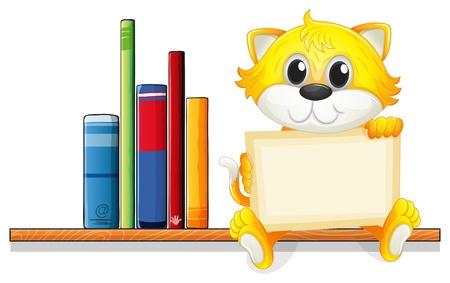 �tag�re bois: Illustration d'un chat tenant un plateau vide au-dessus de l'�tag�re en bois avec des livres sur un fond blanc