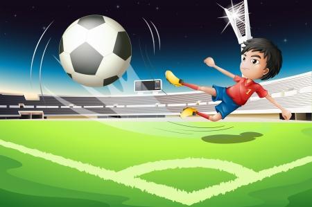 kicking ball: Illustration of a football player kicking a ball