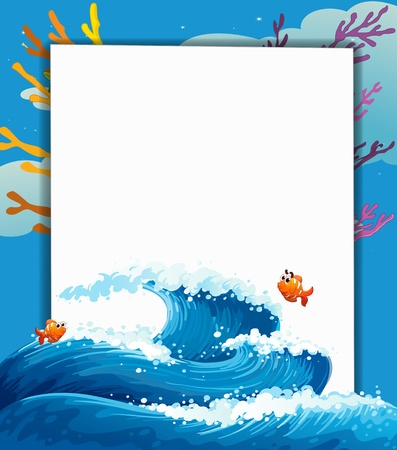 edges: Illustration of an empty signboard in the middle of the sea Illustration