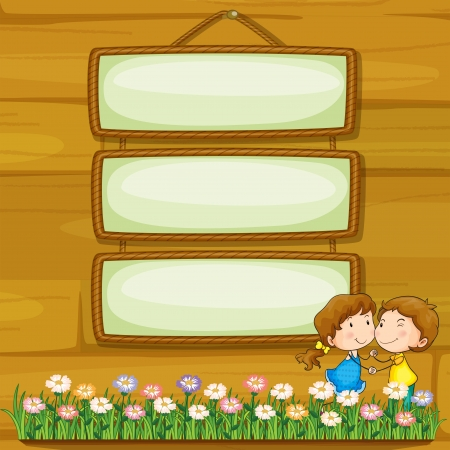 Illustration of lovers dating in front of the empty boards