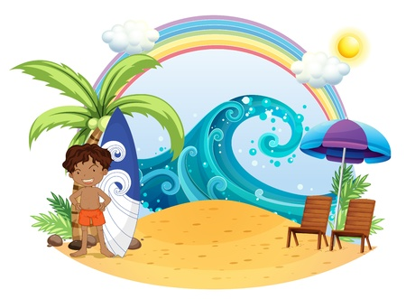 Illustration of a boy standing beside his surfing board at the beach on a white backgroud  Vector