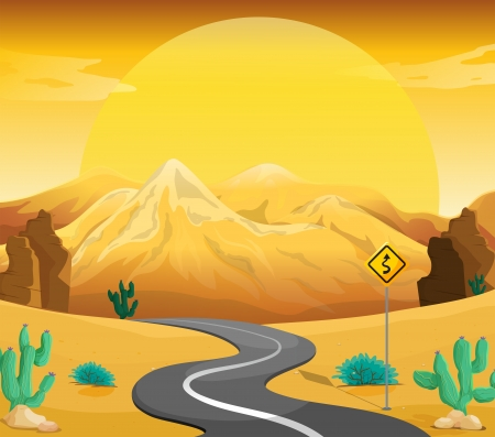manmade: Illustration of a winding road at the desert