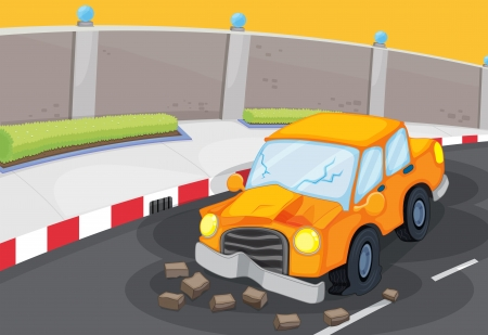 Illustration of a cracked car at the road Vector