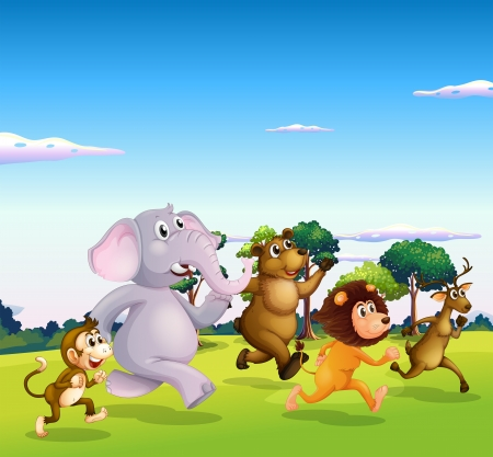 Illustration of the five wild animals running Illustration