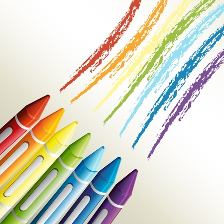 crayon drawing: Illustration of the colorful crayons on a white background