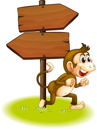 pointed arrows: Illustration of a monkey running beside the empty arrowboards on a white background