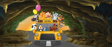multiple image: Illustration of a bus full of animals inside the cave