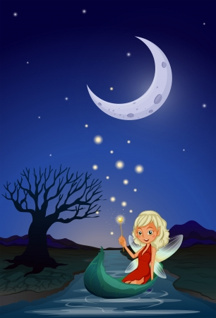 Illustration of a fairy in the middle of the night Vector