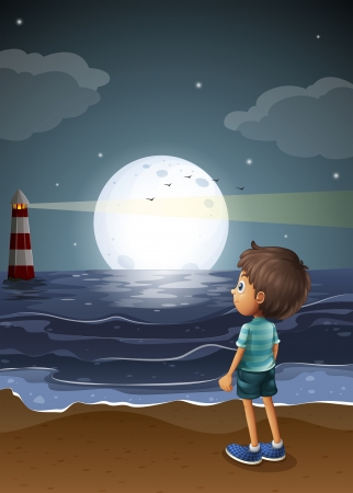 Illustration of a young boy watching a fullmoon at the beach Vector