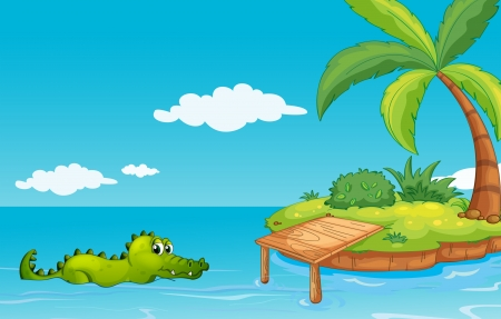 Illustration of a crocodile going to the island Illustration